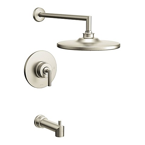 Buy Moen Arris 1 Handle Wall Mount Tub And Shower Faucet In Brushed Nickel From Bed Bath Beyond