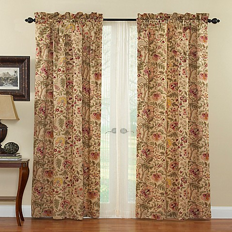 Waverly Imperial Dress 84 Inch Rod Pocket Window Curtain Panel In Antique Bed Bath Beyond