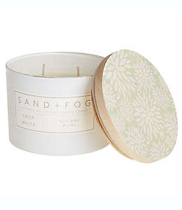 Vela en vaso de vidrio Sand + Fog® Crisp White con tapa de madera
