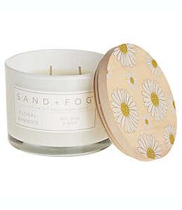Vela en vaso de vidrio Sand + Fog® Floral Bamboo con tapa de madera