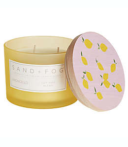 Vela en vaso de vidrio Sand + Fog® Limoncello con tapa de madera color amarillo