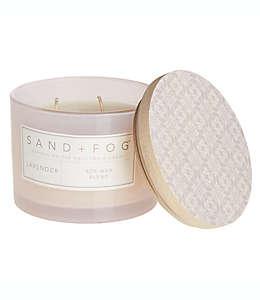 Vela en vaso de vidrio Sand + Fog® Lavender con tapa de madera decorada, 340.19 g