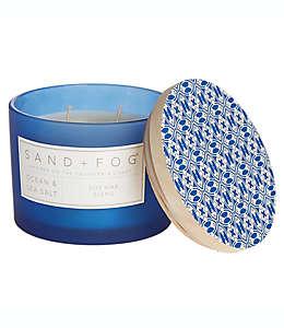 Vela en vaso de vidrio Sand + Fog® Ocean Sea & Salt con tapa de madera decorada, 340.19 g