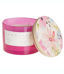 Vela en vaso de vidrio Sand + Fog® Ocean Mist con tapa de madera decorada, 340.19 g