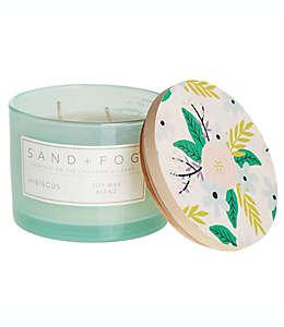 Vela en vaso de vidrio Sand + Fog® Hibiscus con tapa de madera decorada, 340.19 g