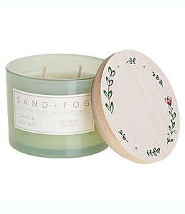 Vela en vaso de vidrio Sand + Fog® Sage Sea Salt con tapa de madera