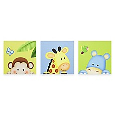 image of Teamson Fantasy Fields Sunny Safari Children's Canvas Wall Art (Set of 3)