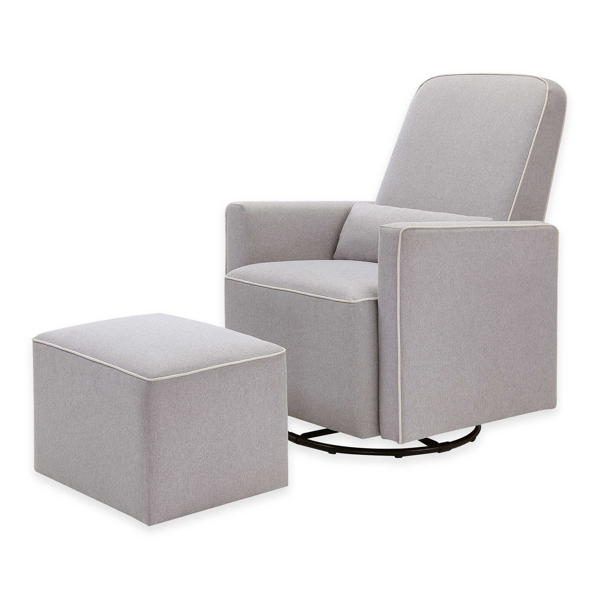 Davinci furniture perancis furniture standing clock mirror contact us - Davinci Olive Upholstered Swivel Glider And Ottoman In Grey With Cream Piping