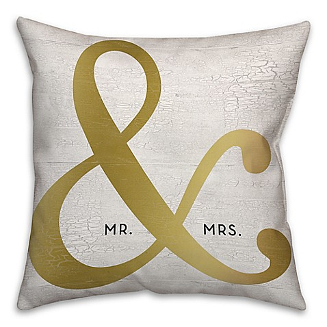 Buy mr mrs ampersand 18 inch square throw pillow in for Mr and mrs spa