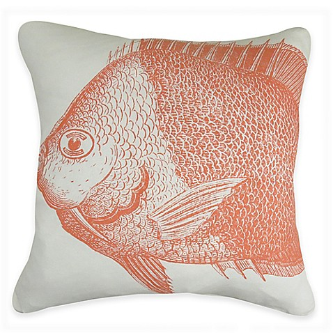 Buy Park B. Smith The Vintage House Fish Square Throw Pillow in Coral/White from Bed Bath & Beyond