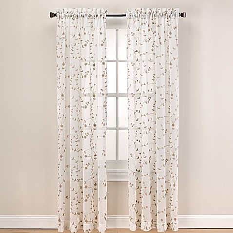 Buy caspia 63 inch rod pocket sheer window curtain panel in gold from bed bath amp beyond