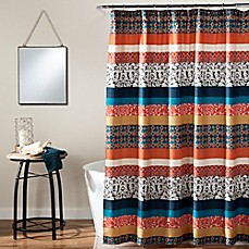 Boho Stripe Shower Curtain In Turquoise Orange