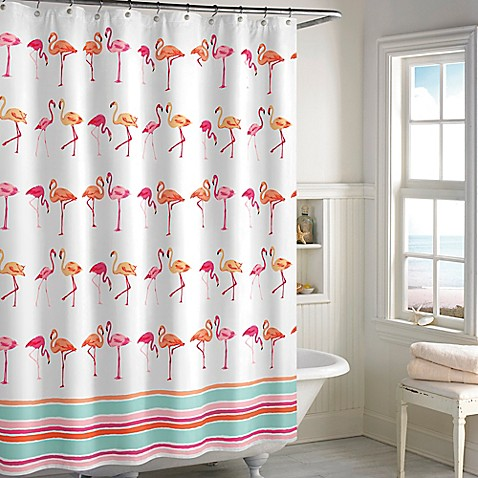 Flamingo Shower Curtain In Pink White