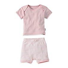 image of Burt's Bees Baby® 2-Piece Organic Cotton  T-Shirt and Striped Short Set in Pink