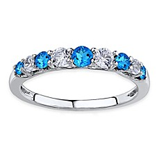 image of Sterling Silver Lab-Created White and Blue Sapphire Ladies' Stackable Ring