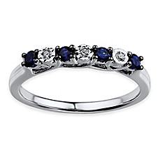 image of Sterling Silver Simulated Blue and White Sapphire Ladies' Stackable Ring