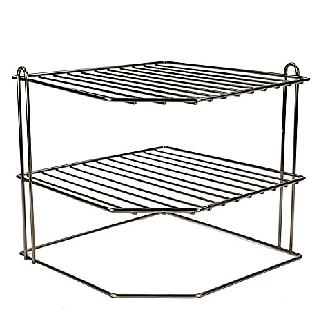 Home Basics® 3-Tier Corner Rack Wire Organizer in Onyx