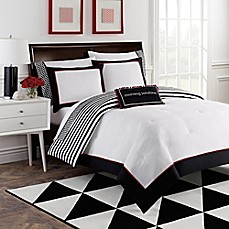 image of Dahlia 8-Piece Reversible Comforter Set by Robin Zingone in Black/White/Red