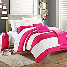 image of Chic Home Corona 9-Piece Comforter Set in Pink/White