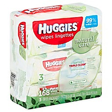 image of Huggies® Natural Care 3-Pack 56-Count Baby Wipes in Unscented