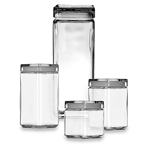 Anchor hocking stackable square canisters bed bath beyond for Clear bathroom containers
