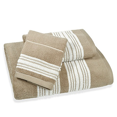 Buy Coastal Stripe Hand Towel In Beige From Bed Bath Beyond