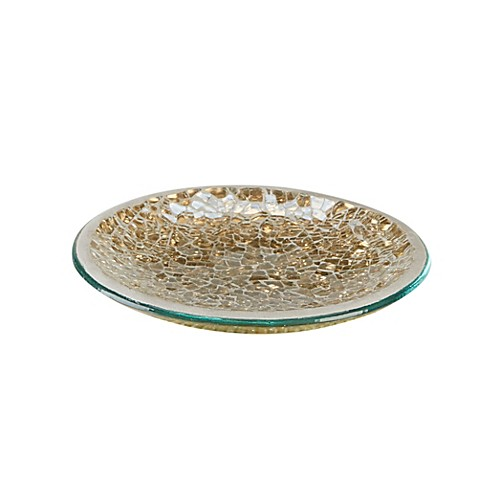 Buy gold crackle mosaic glass soap dish from bed bath beyond for Gold mosaic bathroom accessories