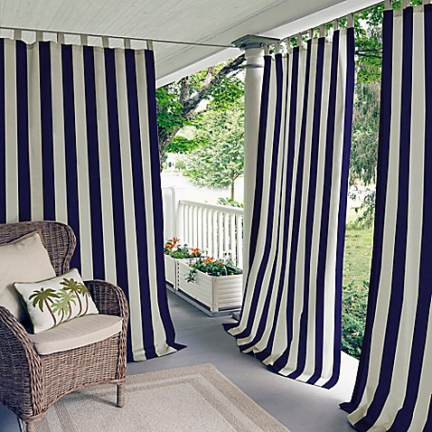 Elrene Highland Stripe Indoor Outdoor Tab Top Window Curtain Panel
