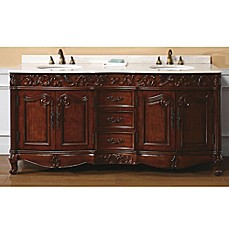 image of James Martin Furniture Embassy 72-Inch Double Vanity with Baltic Brown Stone Top in Dark Cherry