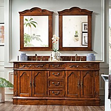 image of James Martin Furniture Amalfi 72-Inch Double Vanity with Gold Travertine Stone Top in Cherry