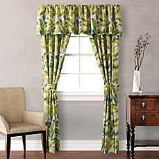 image of Tommy Bahama® Blue Palm 84-Inch Pole Top Window Curtain Panel Pair in Sea Glass