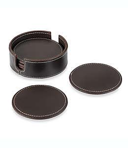 Portavasos de piel con base color café obscuro, Set de 6