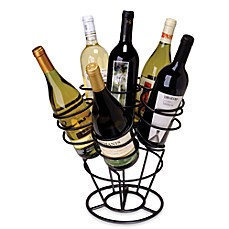 image of Oenophilia 6-Bottle Bouquet Wine RackBlack Finish