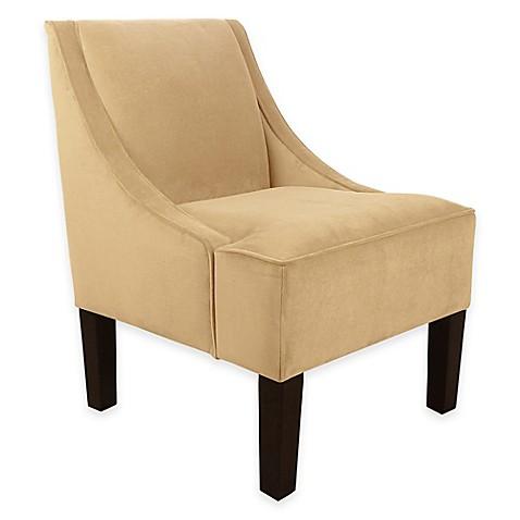 Buy Skyline Furniture Swoop Velvet Arm Chair In Buckwheat