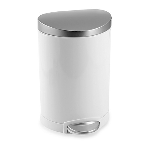 Image Of Simplehuman Brushed Stainless Steel Fingerprint Proof 6 Liter Semi Round Step
