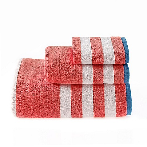 Buy Riviera Stripe Hand Towel In Coral From Bed Bath Beyond