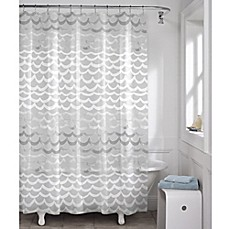 image of Maytex Waves PEVA Shower Curtain in White and Silver