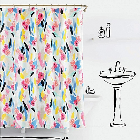 Curtains Ideas bed bath and beyond bathroom curtains : Kate Spade Paintball Floral Shower Curtain - Bed Bath & Beyond