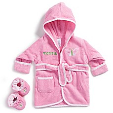 image of Size 0-9M Butterfly Bathrobe with Booties in Pink