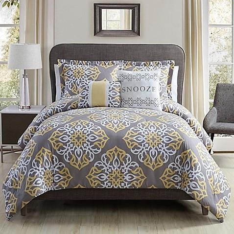 snooze comforter set in grey/yellow - bed bath & beyond