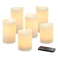 image of Flameless LED Wax Pillar Candles with Remote (Set of 6)
