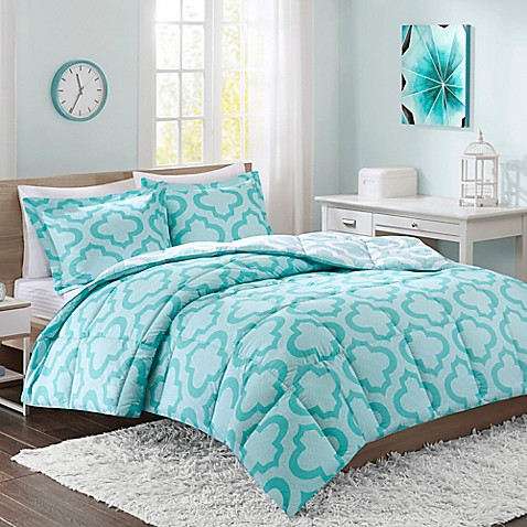 buy intelligent design pilar twin twin xl reversible duvet cover set in aqua from bed bath beyond. Black Bedroom Furniture Sets. Home Design Ideas