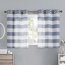 Image Of Cabana Stripe 38 Inch Bath Window Curtain Tier Pair In Blue