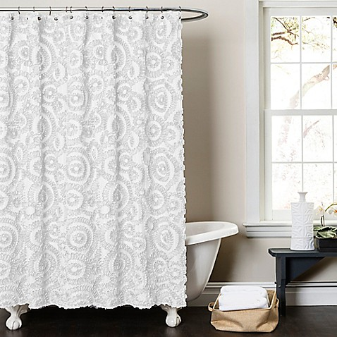 Lush d cor keila shower curtain in white bed bath beyond for Decoration bed bath and beyond