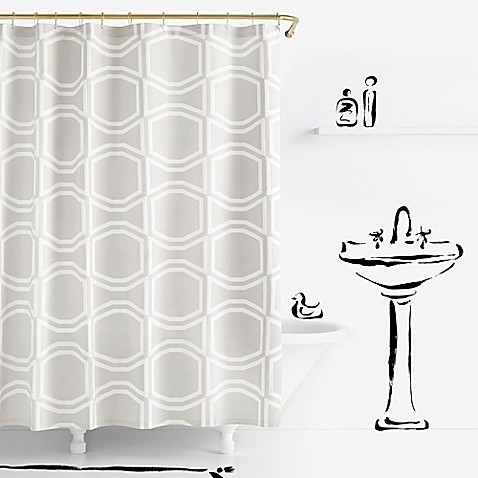 kate spade new york Bow Tile Shower Curtain in Platinum - Bed Bath ...