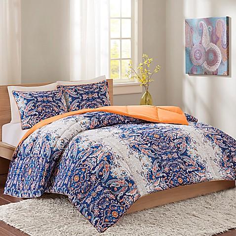 intelligent design minnet reversible comforter set in blue - bed