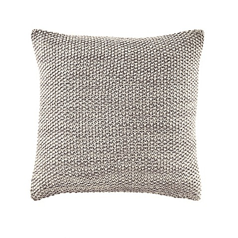 Buy Nautica Bartlett Knit Square Throw Pillow in Grey/Ivory from Bed Bath & Beyond