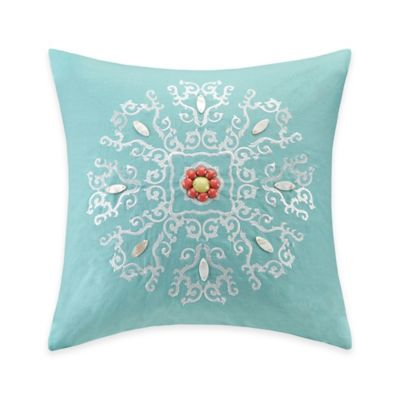 Echo Design Throw Pillows : Echo Design Cyprus Embroidered Square Throw Pillow in Aqua - Bed Bath & Beyond