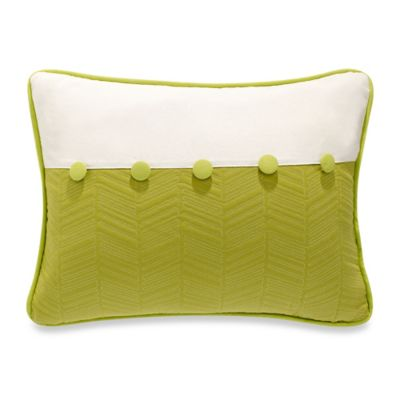 White Quilted Decorative Pillows : HiEnd Accents Capri Fern Quilted Oblong Throw Pillow in Green/White - Bed Bath & Beyond
