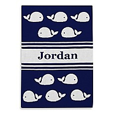 image of Tadpoles™ by Sleeping Partners Ultra-Soft Knit Whale Blanket in Navy/White